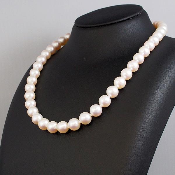 【20%OFF対象】花珠真珠9mm珠ネックレス あこや真珠 専門機関による鑑別書付き 長さ42cm ホワイトピンク系 専用ケース付き