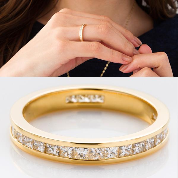 フルエタニティリング プリンセスカット K18YG(18金ゴールド) VS1クラスで透明度抜群のダイヤモンドを隙間なく全周に留めています *専門機関による鑑別書付き ラッピング(無料)