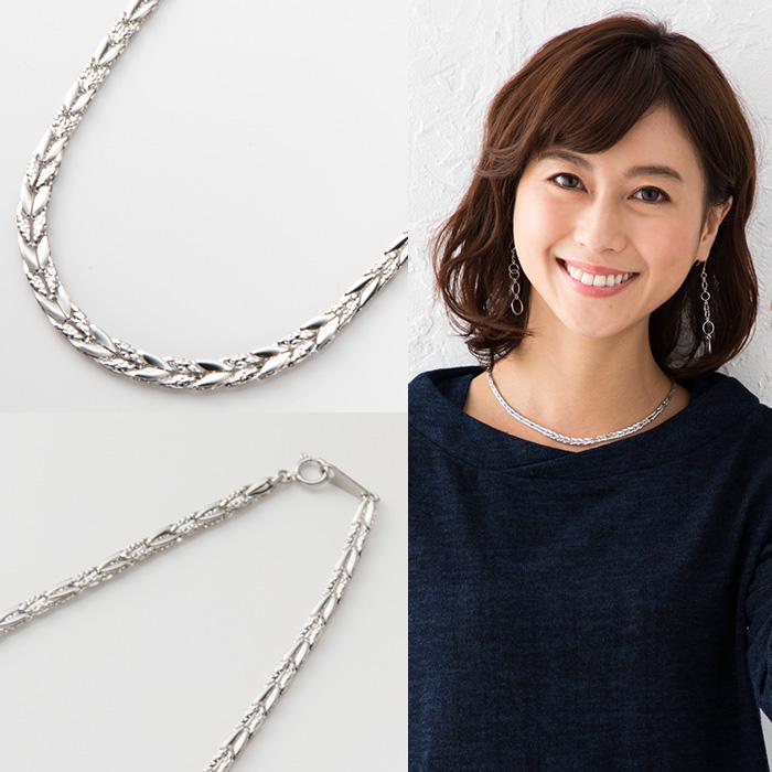 純プラチナPt999 ネックレス 約42cm 約10.0g オーキッドデザインネックレスデザインネックレス【造幣局品位証明刻印】