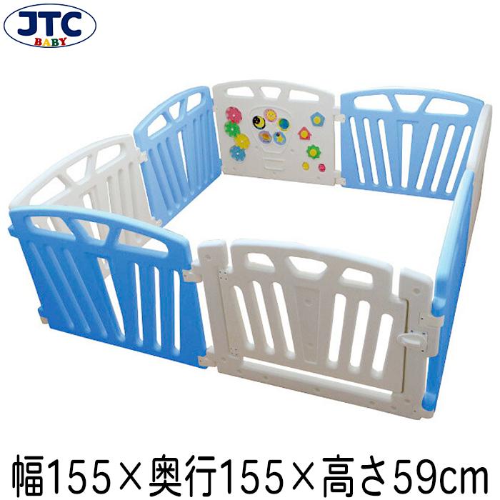 JTC パステルカラーサークル8P (ブルー) ベビーサークル プレイヤード 赤ちゃん フェンス 安全 柵 大型 置くだけ 囲い 1歳 2歳 3歳