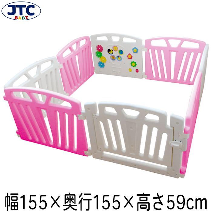 JTC パステルカラーサークル8P (ピンク) ベビーサークル プレイヤード 赤ちゃん フェンス 安全 柵 大型 置くだけ 囲い 1歳 2歳 3歳
