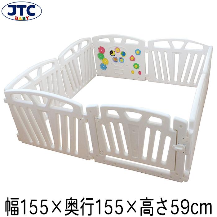 JTC パステルカラーサークル8P (ホワイト) ベビーサークル プレイヤード 赤ちゃん フェンス 安全 柵 大型 置くだけ 囲い 1歳 2歳 3歳