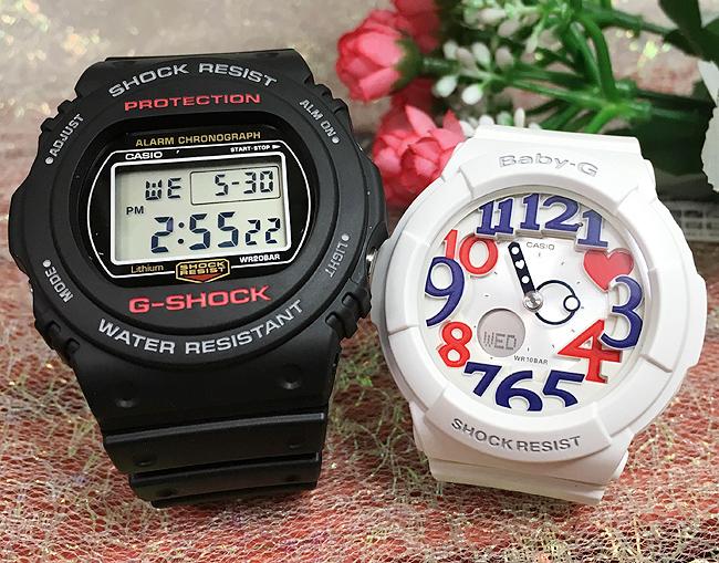 恋人たちのGショックペア G-SHOCK BABY-G ペアウォッチ ペア腕時計 カシオ 2本セット gショック ベビーg アナデジ DW-5750E-1JF BGA-130TR-7BJF お揃い ギフト 人気 ラッピング無料 新品 メッセージカード手書きします