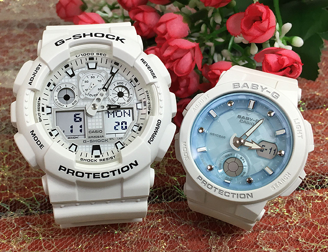 恋人たちのGショック ペアウオッチ G-SHOCK BABY-G ペア腕時計 カシオ 2本セット gショック ベビーg アナデジ GA-100MW-7AJF BGA-250-7AJF お揃い ギフト 人気 ラッピング無料 新品 メッセージカード手書きします クリスマスプレゼント