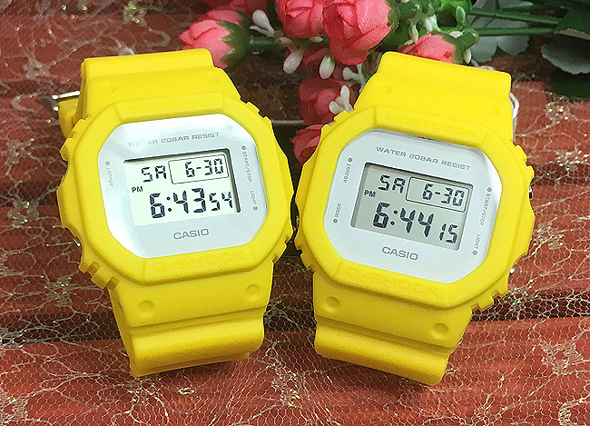 恋人たちのGショック ペアウオッチ G-SHOCK同士のペア腕時計 カシオ 2本セット gショック ベビーg DW-5600CU-9JF2本セットイエローデジタル 人気 ラッピング無料g-shock あす楽対応 クリスマスプレゼント