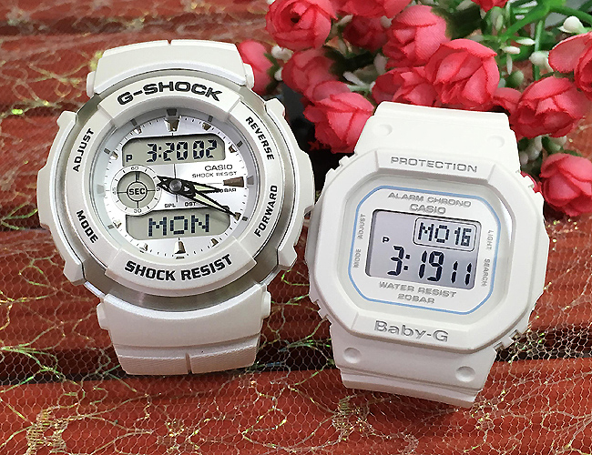 恋人たちのGショック ペアウオッチ G-SHOCK BABY-G ペア腕時計 カシオ 2本セット gショック ベビーg G-300LV-7AJF BGD-560-7JF マリンホワイト デジタル 人気 ラッピング無料g-shock クリスマスプレゼント 手書きのメッセージカードお付けします あす楽対応