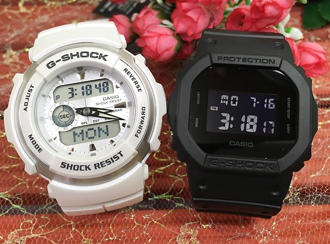 恋人たちのGショック ペアウオッチ G-SHOCK BABY-G ペア腕時計 カシオ 2本セット gショック ベビーg DW-5600BB-1JF G-300LV-7AJFF デジタル 人気 ラッピング無料g-shock クリスマスプレゼント 手書きのメッセージカードお付けします あす楽対応