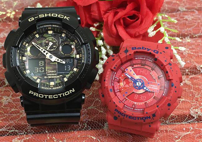 恋人たちのGショック ペアウオッチ G-SHOCK BABY-G ペア腕時計 カシオ 2本セット gショック ベビーg アナデジ GA-100CF-1A9JF BA-110ST-4AJF 人気 ラッピング無料 g-shock あす楽対応 クリスマスプレゼント