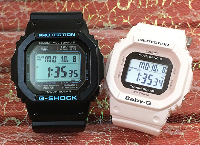 恋人たちのGショック ペアウオッチ G-SHOCK BABY-G ペア腕時計 カシオ 2本セット gショック ベビーg デジタル GW-M5610BA-1JF BGD-5000-4BJF ソーラー電波 プレゼント ギフト ラッピング無料 メッセージカード g-shock クリスマスプレゼント