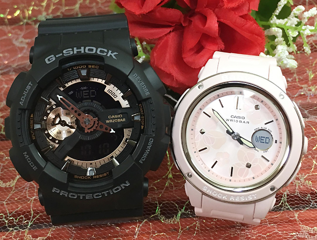恋人たちのGショック 可愛いね G-SHOCK BABY-G ペア腕時計 カシオ 2本セット gショック ベビーg GA-110RG-1AJFBGA-150FL-4AJF お揃い人気 ラッピング無料 愛の証g-shock あす楽対応 クリスマス