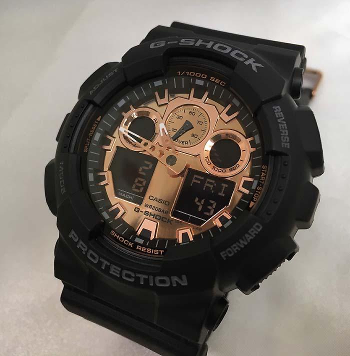 カシオCASIO 腕時計 G-SHOCK ジーショック BLACK&ROSE GOLD GA-100MMC-1AJF メンズレゼント 腕時計ブラック&ゴールド ギフト 人気 ラッピング無料 愛の証 感謝の気持ち g-shock メッセージカード手書きします あす楽対応
