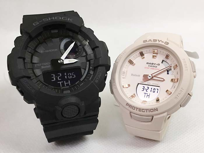 恋人たちのGショックペアウォッチ G-SHOCK BABY-G ペア腕時計 カシオ 2本セット gショック スマホアプリ連携 ベビーg アナデジ GBA-800-1AJF BSA-B100-4A1JFお揃い プレゼント ギフト 人気 ラッピング無料 新品 メッセージカード手書きします あす楽対応