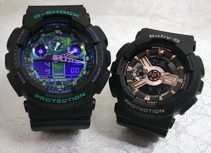 恋人たちのGショックペアウオッチ G-SHOCK BABY-G ペア腕時計 カシオ 2本セットgショック ベビーg アナデジ GA-100BL-1AJF BA-110RG-1AJF 人気 ラッピング無料 g-shock メッセージカード手書きします あす楽対応