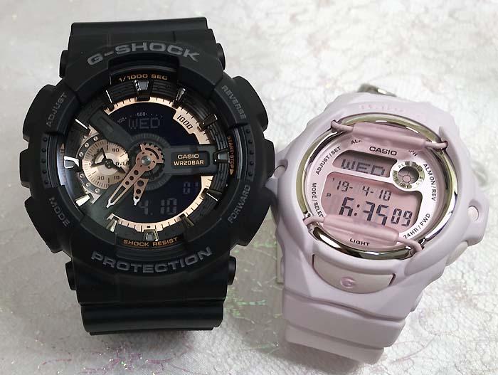 恋人たちのGショックペアウオッチ G-SHOCK BABY-G ペア腕時計 カシオ 2本セット gショック ベビーg アナデジ GA-110RG-1AJF BG-169M-4JFお揃い ギフト 人気 ラッピング無料 新品 メッセージカード手書きします クリスマスプレゼント