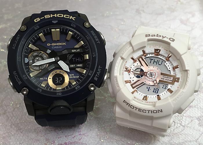 恋人たちのGショックペアウオッチ G-SHOCK BABY-G ペア腕時計 カシオ 2本セットgショック ベビーg アナデジ GA-2000-2AJF BA-110RG-7AJF人気 ラッピング無料 g-shock メッセージカード手書きします あす楽対応 クリスマスプレゼント