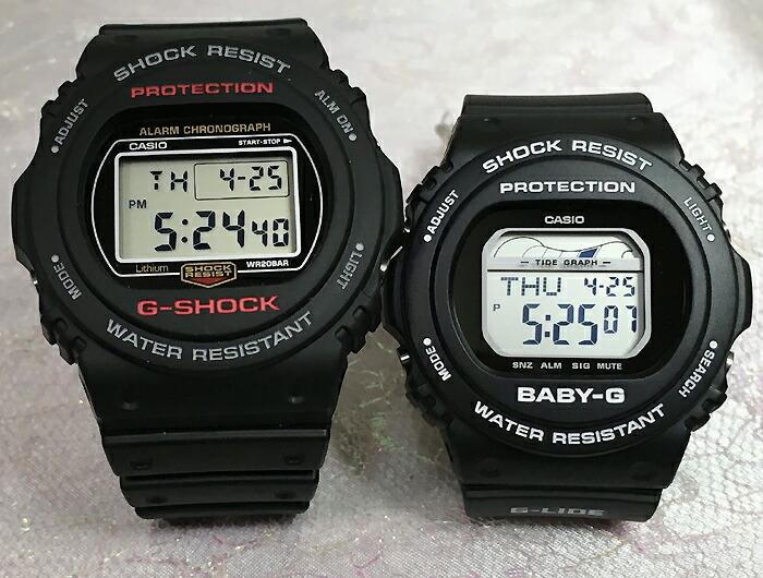 恋人たちのGショックペアウオッチ G-SHOCK BABY-G ペアウォッチ DW5700の復刻版 ペア腕時計 カシオ 2本セット gショックDW-5750E-1JF BLX-570-1JF 人気 ラッピング無料 クリスマス