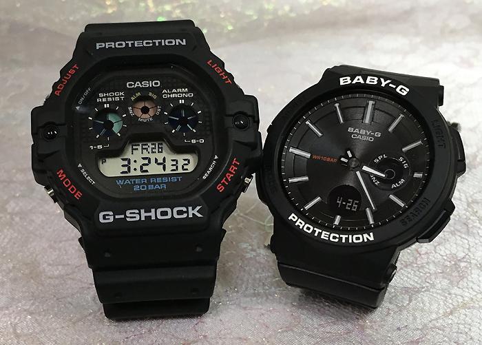 恋人たちのGショックペアウオッチ G-SHOCK BABY-G ペア腕時計 カシオ 2本セットgショック ベビーg アナデジ DW-5900-1JF BGA-255-1AJFスマートフォーンアプリ連携 人気 ラッピング無料 g-shock メッセージカード手書きします あす楽対応