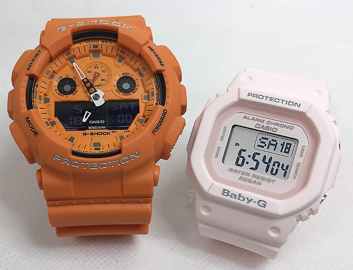 恋人たちのGショック ペアウオッチ G-SHOCK BABY-G ペア腕時計 カシオ 2本セット gショック ベビーg GA-100RS-4AJF BGD-560-4JF デジタル人気 ラッピング無料g-shock ペアウオッチ クリスマスプレゼント 手書きのメッセージカードお付けします あす楽対応