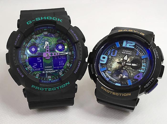 恋人たちのGショックペアウオッチ G-SHOCK ペア腕時計 カシオ GA-100BL-1AJF BGA-190GL-1BJF プレゼント ギフト ラッピング無料 g-shock メッセージカード手書きします あす楽対応 クリスマスプレゼント