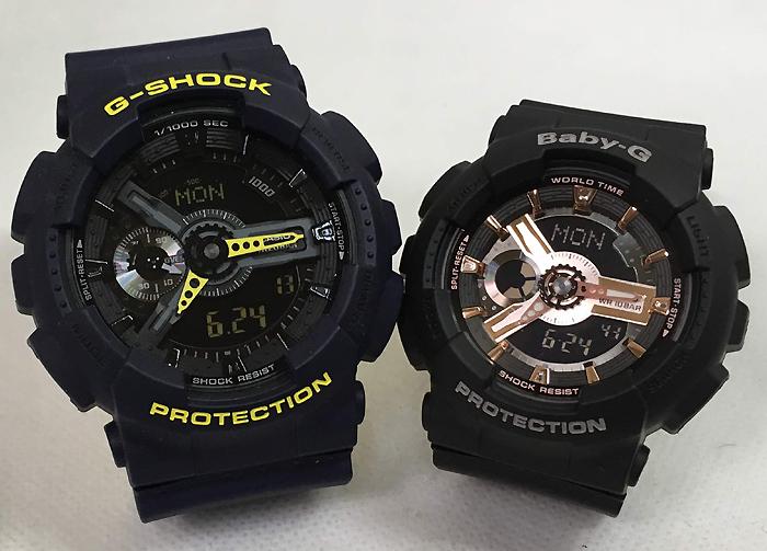 恋人たちのGショックペアウオッチ G-SHOCK BABY-G ペア腕時計 カシオ 2本セットgショック ベビーg アナデジ GA-110LN-2AJF BA-110RG-1AJF 人気 ラッピング無料 g-shock メッセージカード手書きします あす楽対応