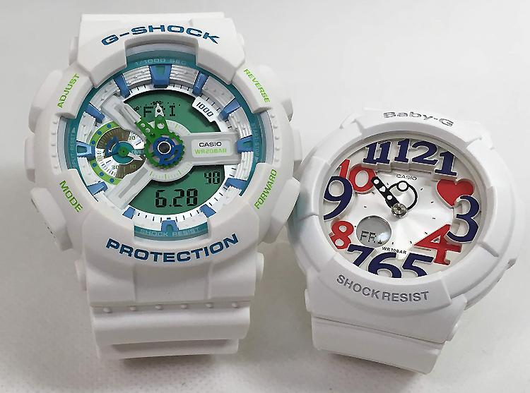 恋人たちのGショック ペアウォッチ G-SHOCK BABY-G ペア腕時計 カシオ 2本セット gショック ベビーg アナデジ GA-110WG-7AJF BGA-130TR-7BJFお揃い ギフト 人気 ラッピング無料 新品 メッセージカード手書きします