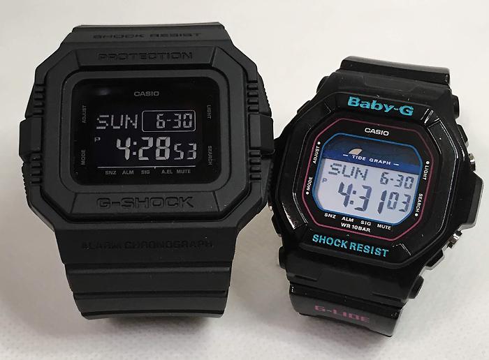 恋人たちのGショック ペアウオッチ G-SHOCK BABY-G ペア腕時計 カシオ 2本セット gショック ベビーg DW-D5500BB-1JFBLX-5600-1JF デジタル人気 ラッピング無料 愛の証g-shock クリスマスプレゼント 手書きのメッセージカードお付けします あす楽対応