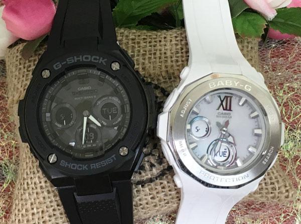 恋人たちのGショックペア G-SHOCK BABY-G ペアウォッチ ペア腕時計 カシオ 2本セット gショック 電波ソーラー GST-W300G-1A1JF BGA-2200-7BJF 人気 ラッピング無料