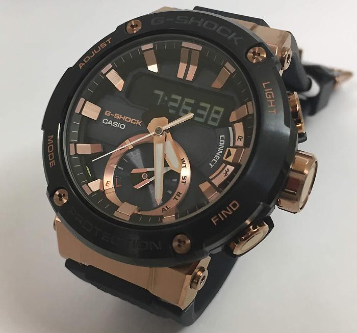 カシオ腕時計 ジーショック G-STEEL Bluetooth 搭載 ソーラー カーボンコアガード構造 GST-B200G-2AJF メンズ ゴールドがワンポイント 人気 ラッピング無料 g-shock ブラックあす楽対応