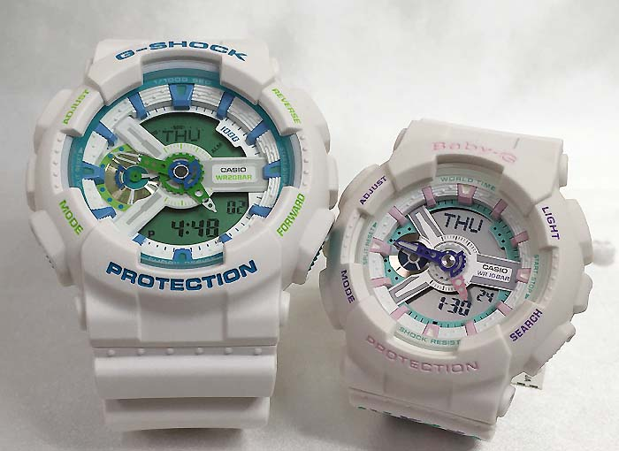 恋人たちのGショック ペアウオッチ G-SHOCK BABY-G ペア腕時計 カシオ 2本セット gショック ベビーg アナデジ GA-110WG-7AJF BA-110TH-7AJF ギフト ラッピング無料 手書きのメッセージカードお付けします あす楽対応 g-shock クリスマス