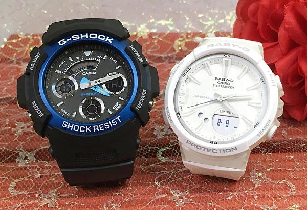 恋人たちのGショックペア G-SHOCK BABY-G ペアウォッチ ペア腕時計 カシオ 2本セット gショック ベビーg アナデジ AW-591-2AJF BGS-100-7A1JF お揃い ギフト 人気 ラッピング無料 新品 メッセージカード手書きします クリスマスプレゼント