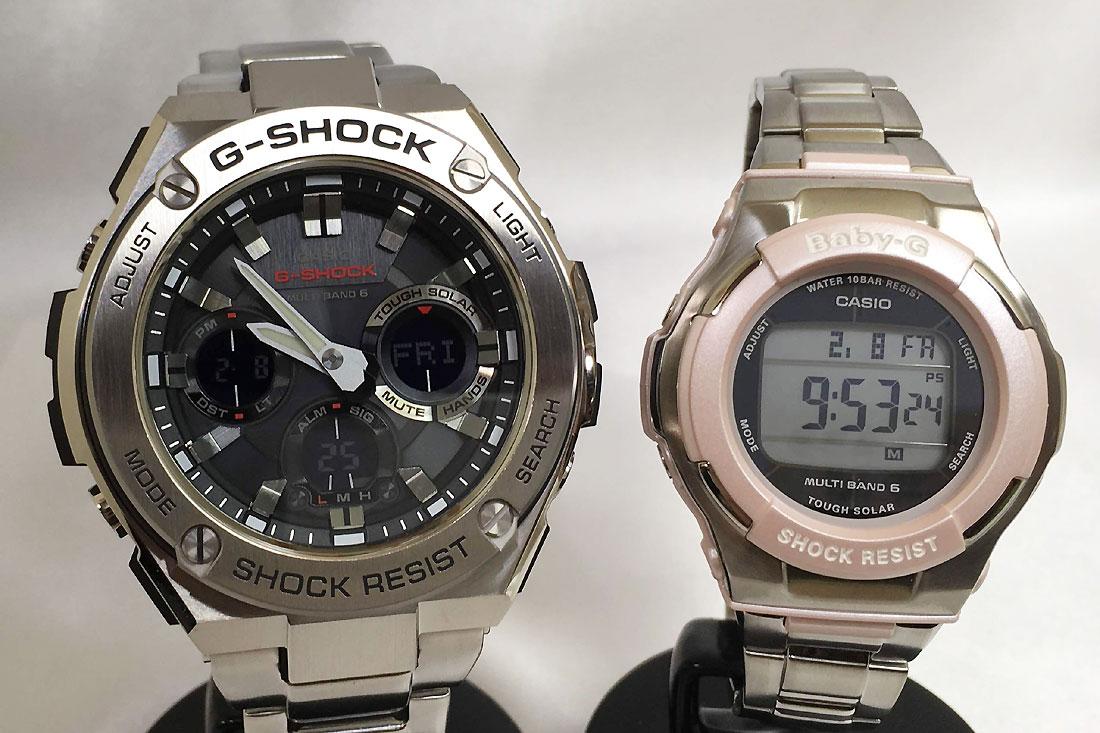 恋人たちのGショックペアウオッチ G-SHOCK BABY-G Gスチール ペア腕時計 カシオ 2本セット gショック ベビーg アナデジ GST-W110D-1AJF BGD-1300D-4JF プレゼント ギフト ラッピング無料 手書きのメッセージカードお付けします あす楽対応