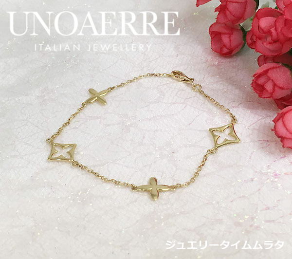The correspondence that attaches a message card of the Uno A Erre bracelet  K18YG yellow gold Lady's UNOAERRE ITALY 750 present gift popular lapping
