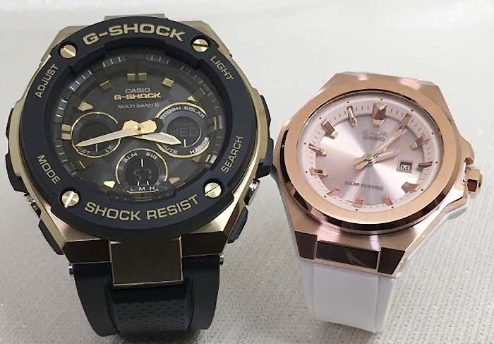恋人たちのGショックペアウォッチ G-SHOCK BABY-G ペア腕時計 カシオ 2本セット ペアウオッチ gショック 電波ソーラー GST-W300G-1A9JF MSG-S500G-7A2JF 人気 ラッピング無料 手書きのメッセージカードお付けします クリスマスプレゼント