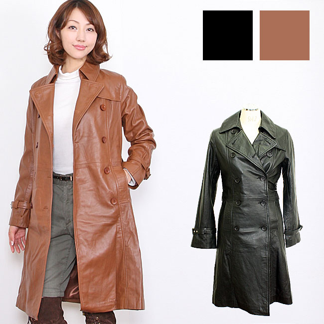 ラムレザーロングト coats leather women's long sleeve / long coat