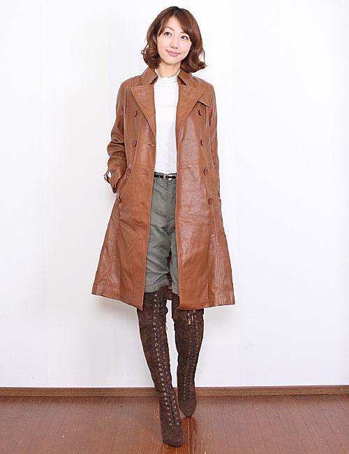 ラムレザーロングト coats leather women's long sleeve / long coat