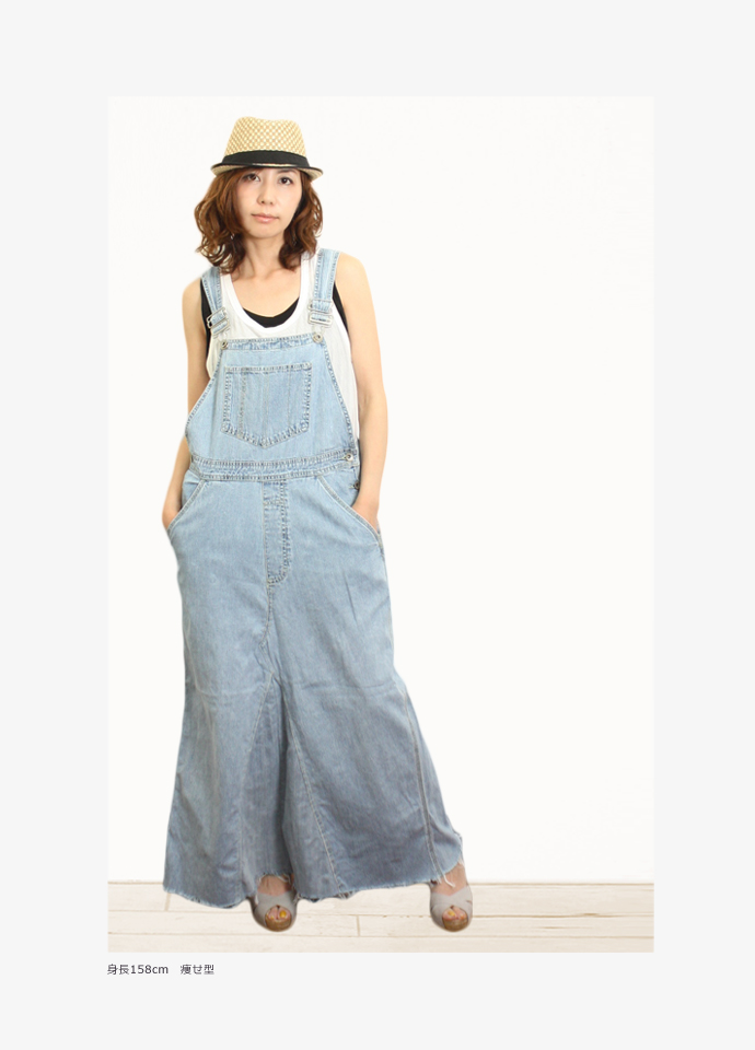 Overall long dress denim remake vintage Lady's UKR043 of one point