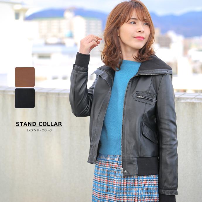 本革 レザージャケット レディース リブ スタンドカラー ミリタリー レザージャケット ラムレザー 全4色 N250