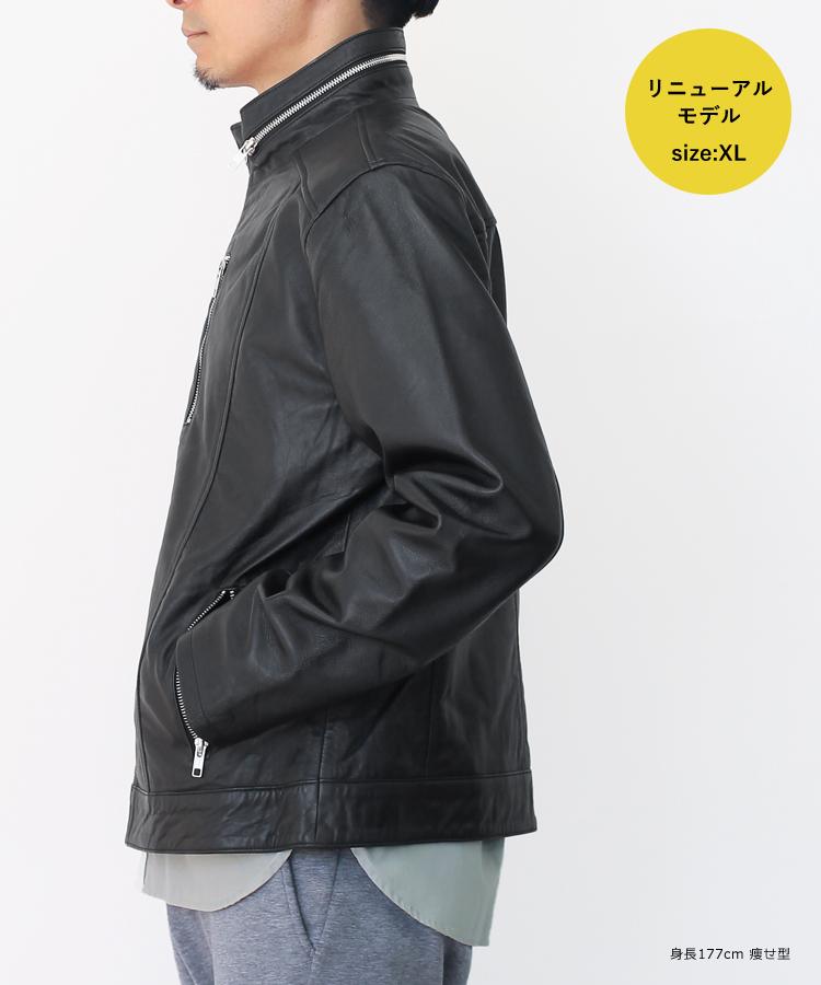 本革ふだん着スタンドカラーレザージャケットラムレザーブラックメンズハイカラー革ジャン神戸パティーナN862N958【小キズ、シワ、シミ、色ムラ、ステッチずれ、染料臭等が必ずございます】