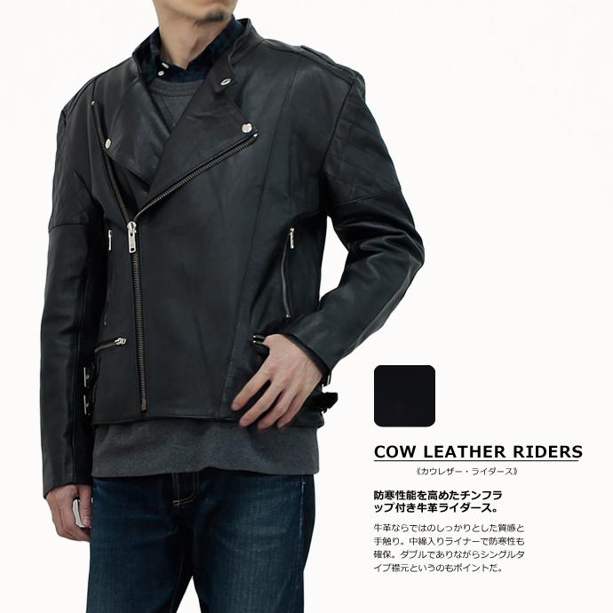 牛革 ダブル ライダース ジャケット ブラック メンズ キルティング裏地 本革 レザージャケット 革ジャン 中綿入り 赤裏地 N035