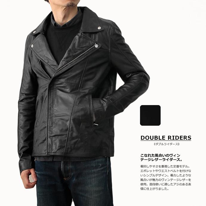 本革 ダブル ライダース ジャケット メンズ ブラック レザージャケット ヴィンテージレザー 革ジャン U001M