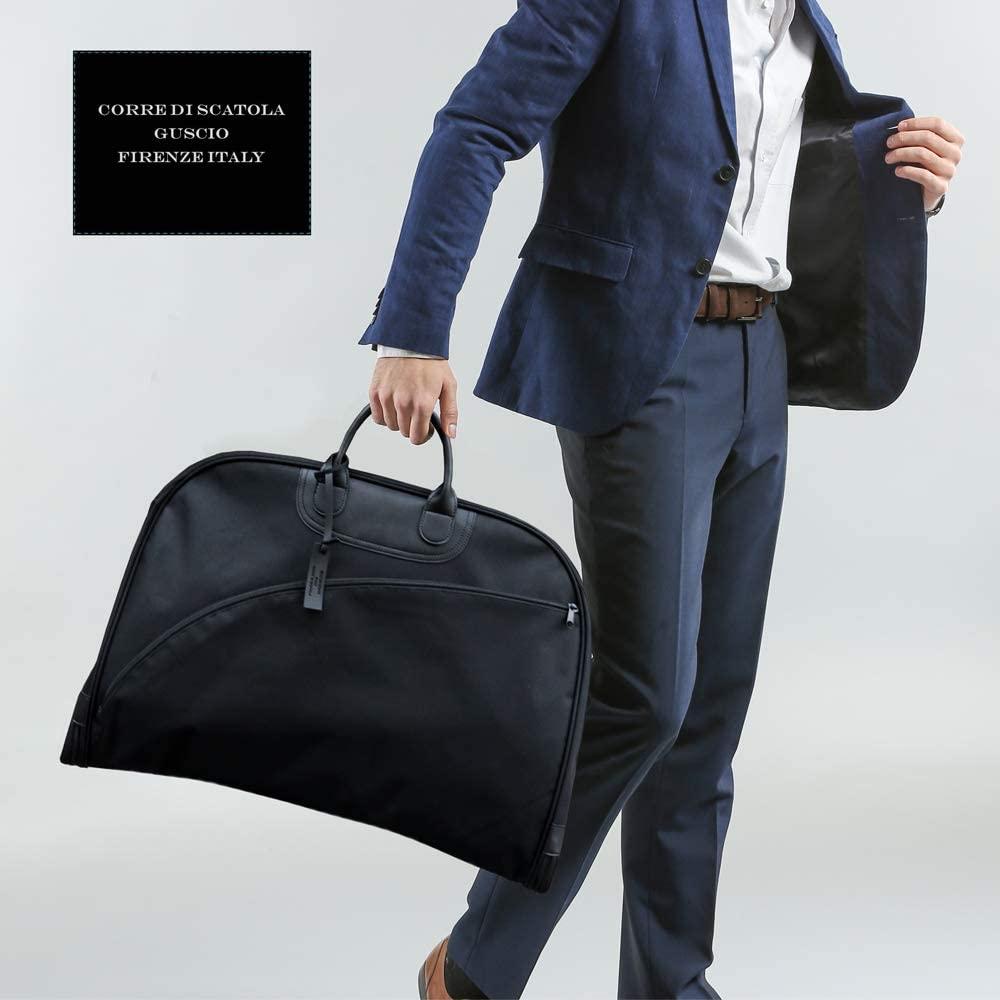 ガーメントバッグ ハンガー付き スーツ ビジネス 激安特価品 出張 形崩れ防止 イタリアンスタイルデザイン キャリー通し 冠婚葬祭 ブラック ネクタイ 付与 195007 メンズ GUSCIO 大容量 ビジネスバッグ グッシオイタリー