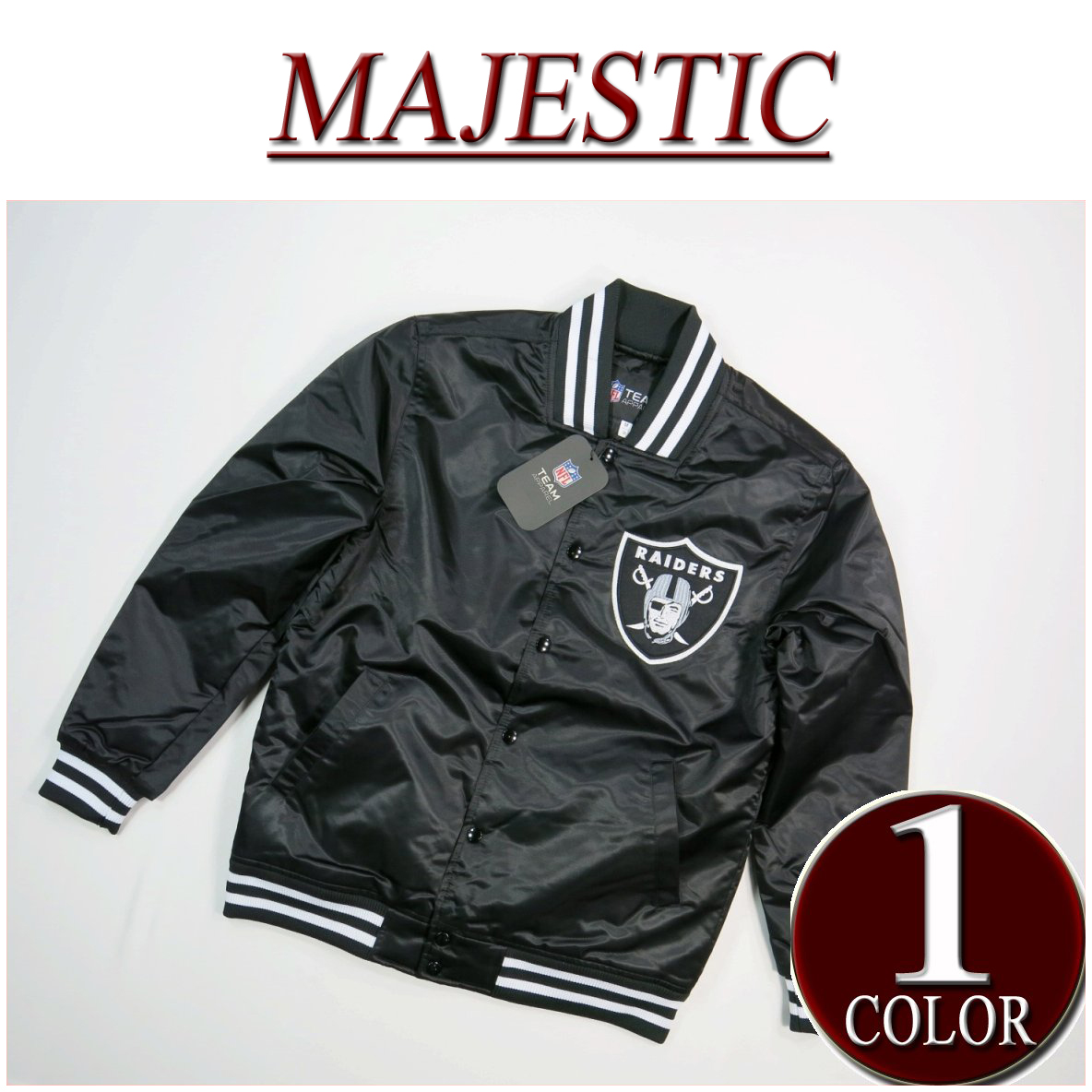 lowest price 0a63b 9390d Stadium jacket with iz831 new article MAJESTIC NFL Oakland Raiders nylon  satin award jacket OLR0003 メンズマジェスティック NFL OFFICIAL WEAR emblem