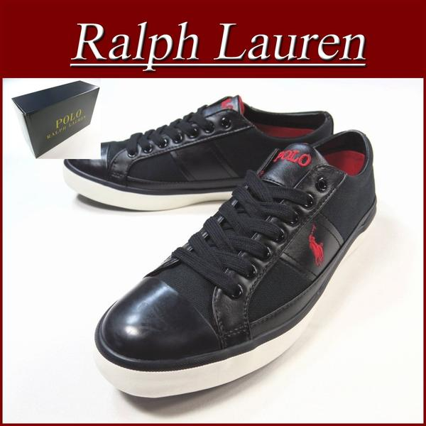 ... aa751 brand new POLO by Ralph Lauren CHURSTON CANVAS×SYNTHETIC  LEATHER canvas low-cut sneakers mens black shoes RalphLauren Polo Ralph  Lauren