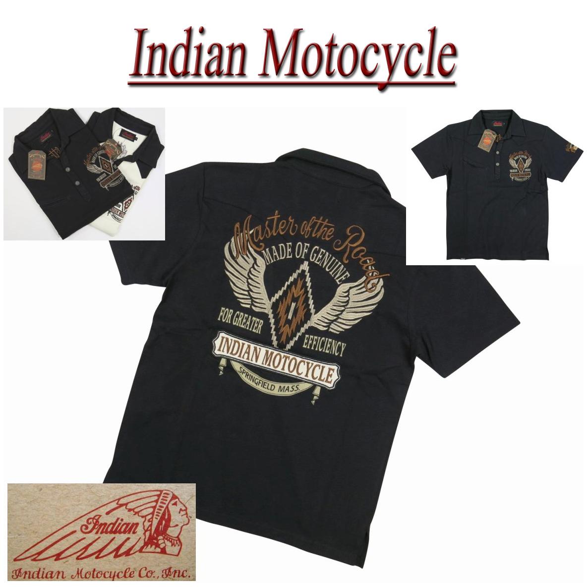 【40%off 2色4サイズ】 ja641 新品 INDIAN MOTOCYCLE チマヨ ウイング刺繍 ウエスタンヨーク切替 半袖 スキッパー ポロシャツ IMPS-608 メンズ ヘッドマーク インディアンモトサイクル IndianMotocycle