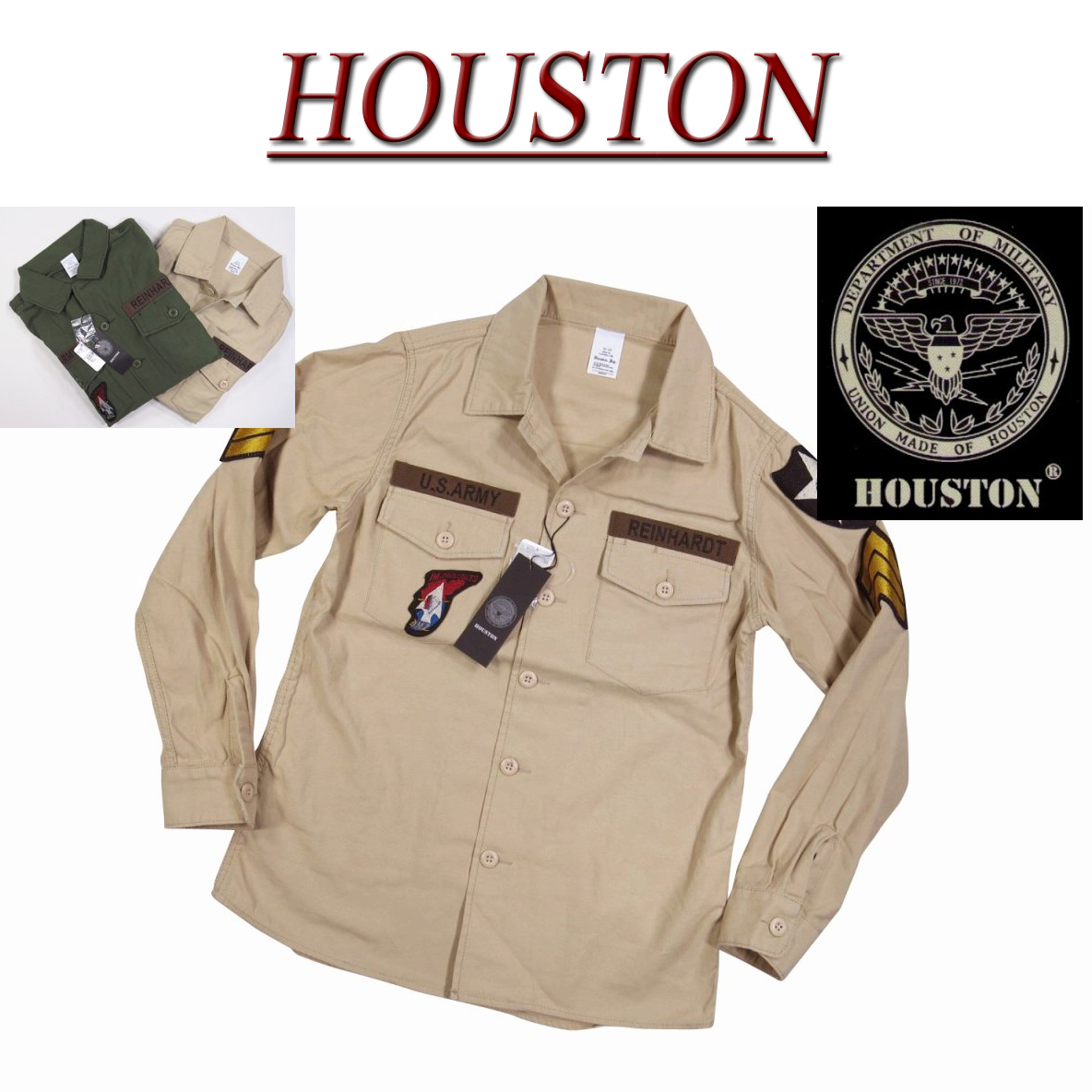 【2色3サイズ】 ja772 新品 HOUSTON U.S.ARMY 長袖 ワッペン付 コットン ミリタリーシャツ 40233 メンズ ヒューストン WAPPEN MILITARY L/S SHIRT ARMY ワークシャツ 軍シャツ