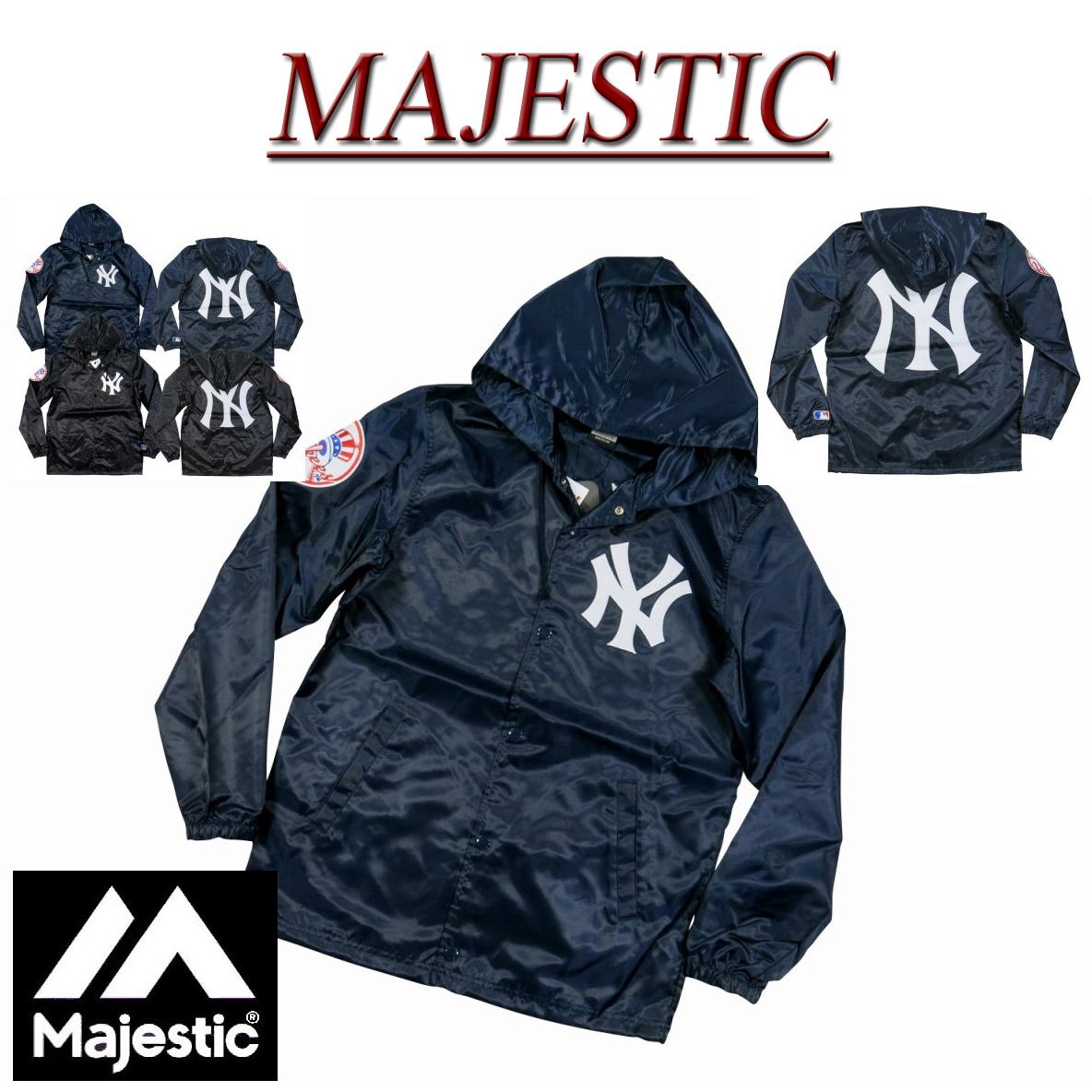 aea153c6b J Rakuten Ichiba shop Plus: ja871 new MAJESTIC New York Yankees hooded  satin coach jacket men's majestic New York Yankees MLB OFFICIAL WEAR NY  windbreaker ...