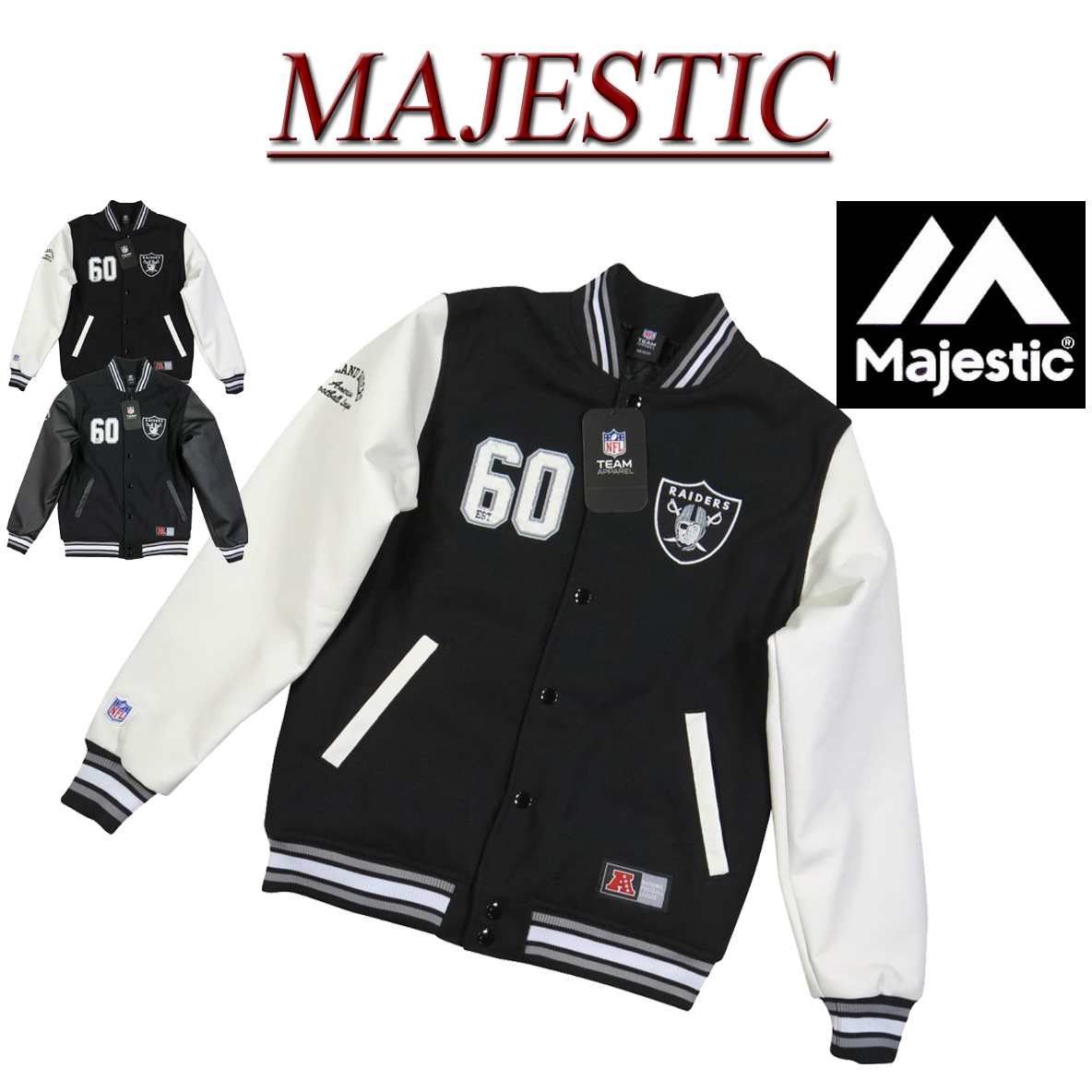 best website 12bec f5a06 Stadium jacket award jacket with ib801 new article MAJESTIC Oakland Raiders  PU leather X melton wool award jacket OLR0011 FM23-OR8F01 men majestic NFL  ...