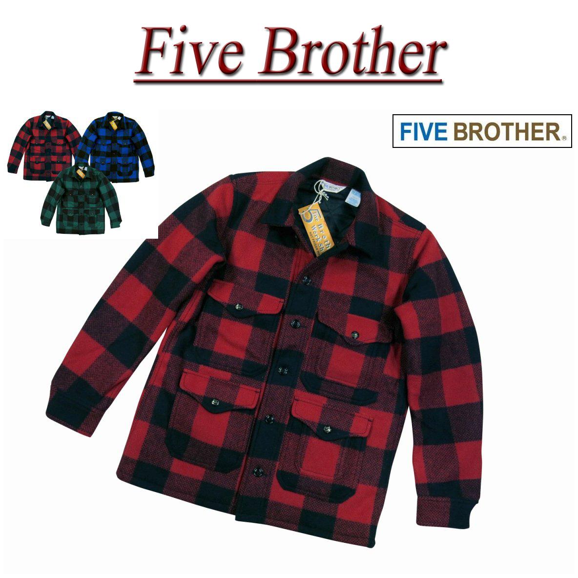 【3色3サイズ】 jb261 新品 FIVE BROTHER バッファローチェック マッキーノジャケット 1516101 メンズ ファイブブラザー ウールジャケット ワークジャケット アメカジ FIVEBROTHER 【smtb-kd】