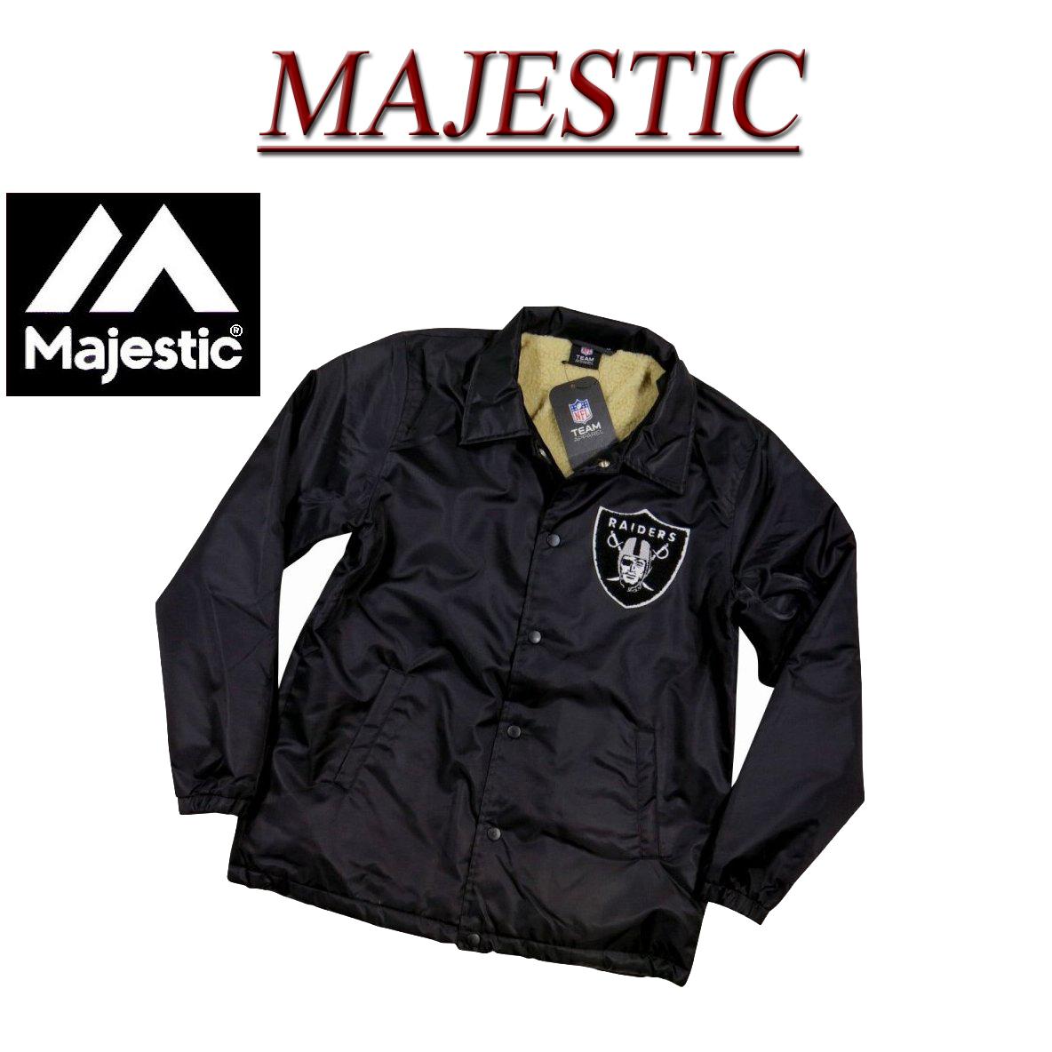 【5サイズ】 jb971 新品 MAJESTIC オークランド レイダース さがら刺繍 裏ボア コーチジャケット FM23-OLR-7F02 メンズ マジェスティック Oakland Raiders NFL OFFICIAL WEAR ウインドブレーカー ナイロンジャケット