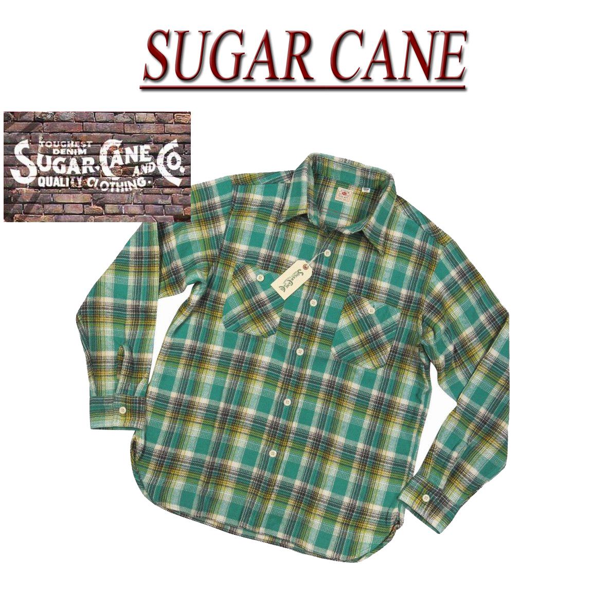 【4サイズ】 nz462 新品 SUGAR CANE 日本製 マチ付 チェック 長袖 ヘビーネルシャツ SC27388 メンズ シュガーケーン TWILL CHECK L/S WORK SHIRT ツイル ワークシャツ Made in JAPAN 【smtb-kd】